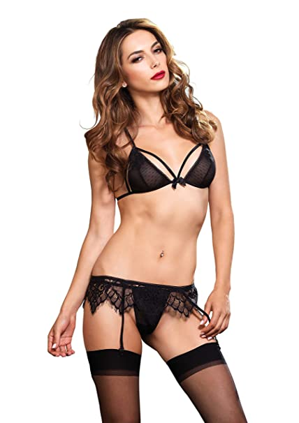 ec74b08e1299f Amazon.com  Leg Avenue Women s Swiss Dot Cage Strap Bra Top and Lace ...