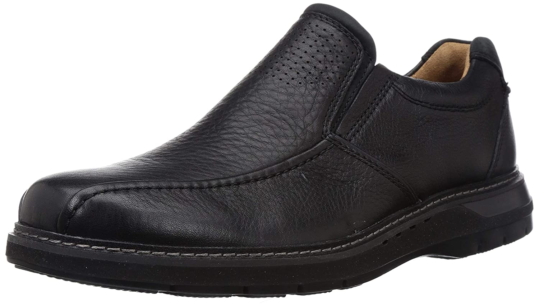Un Ramble Step Black Leather Boat Shoes