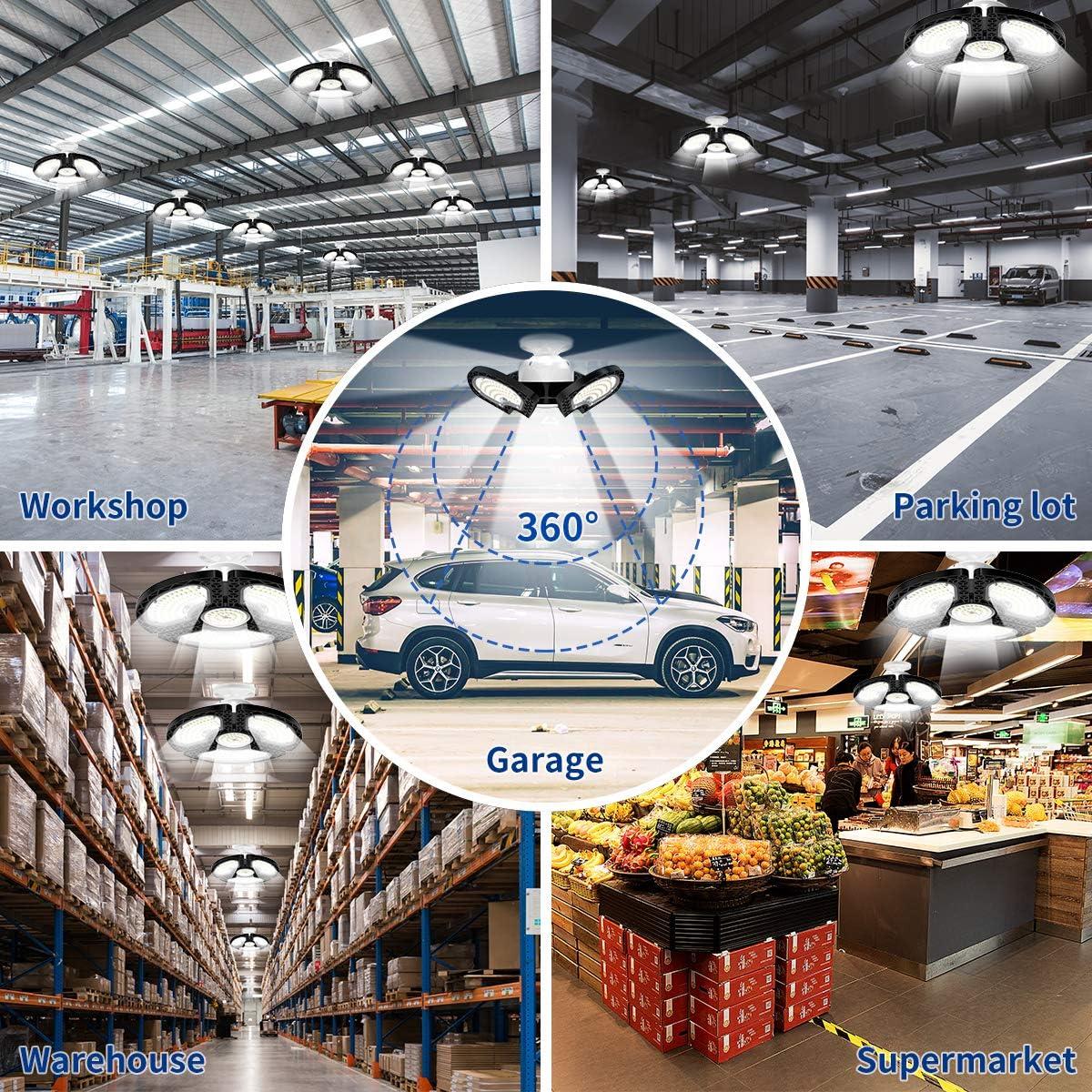 Garage Lights with 3 Adjustable Panels,Utility Led Garage Lighting,LED Light Bulbs for barn etc. 80W Deformable LED Garage Ceiling Lights 12000 LM CRI 80 Led Shop Lights for Garage LED Garage Lights