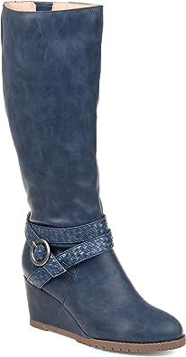 Journee Collection Comfort Womens Garin Regular Wide Calf Extra Wide Wedge Boot