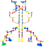 Marble Genius Marble Run Extreme Set - 125 Translucent Marbulous Pieces + 20 Glass Marbles