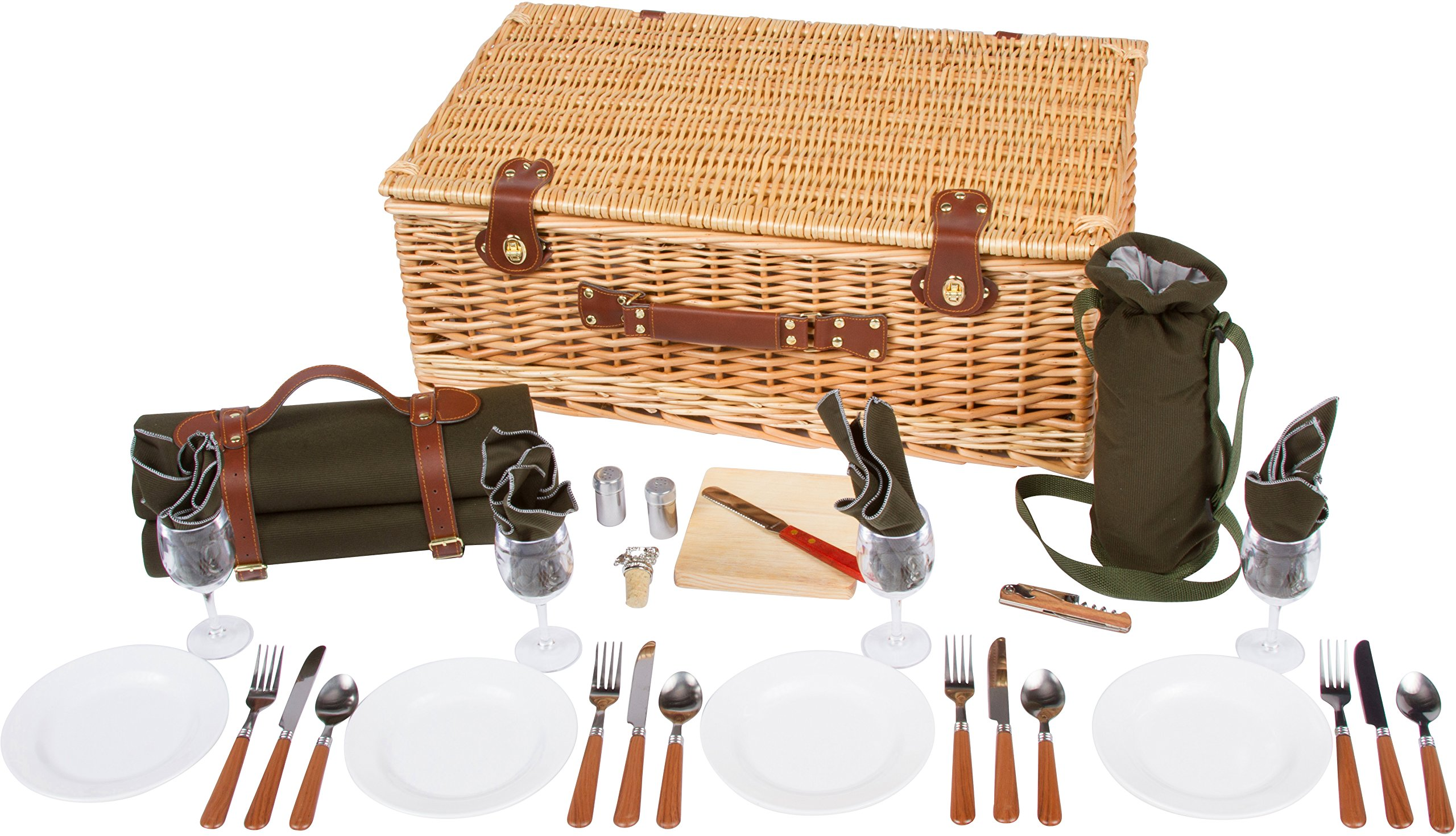 Trademark Innovations 25'' Deluxe Wicker Suitcase Style Picnic Basket with Insulated Compartment