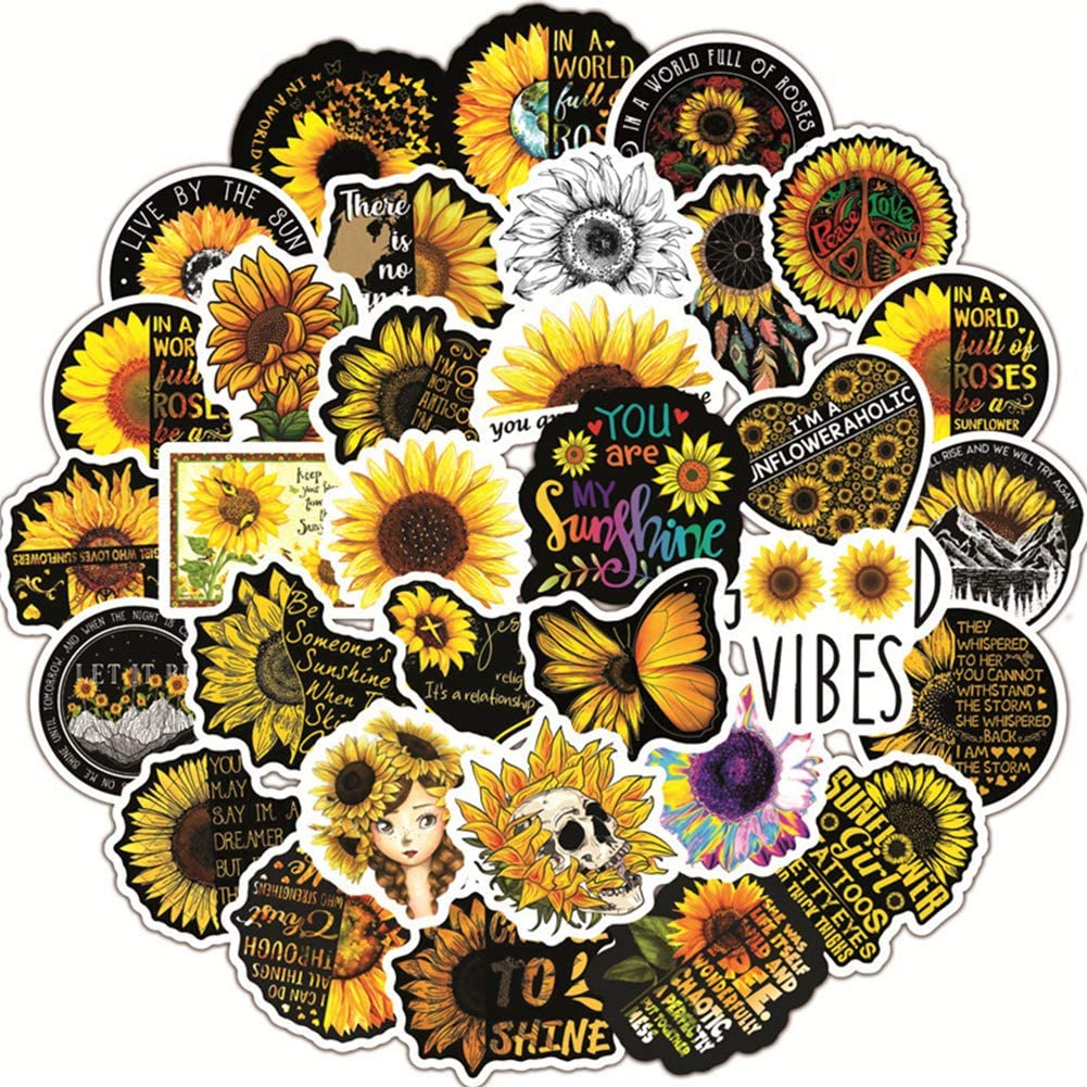 50 Pcs Sunflower Stickers, Sunflower Waterproof Vinyl Stickers for Water Bottles Laptop Car Bicycle Motorcycle Refrigerator Luggage Cup Computer Mobile Phone Locker Skateboard Decals