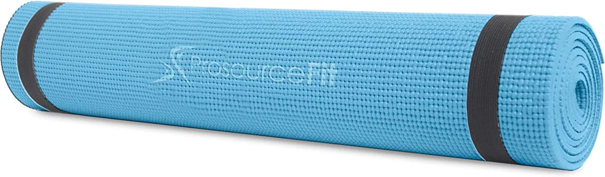 """ProsourceFit Original Yoga Exercise Mat ¼"""" (6mm) Thick for Comfort and Stability with Carrying Straps, Non Slip"""
