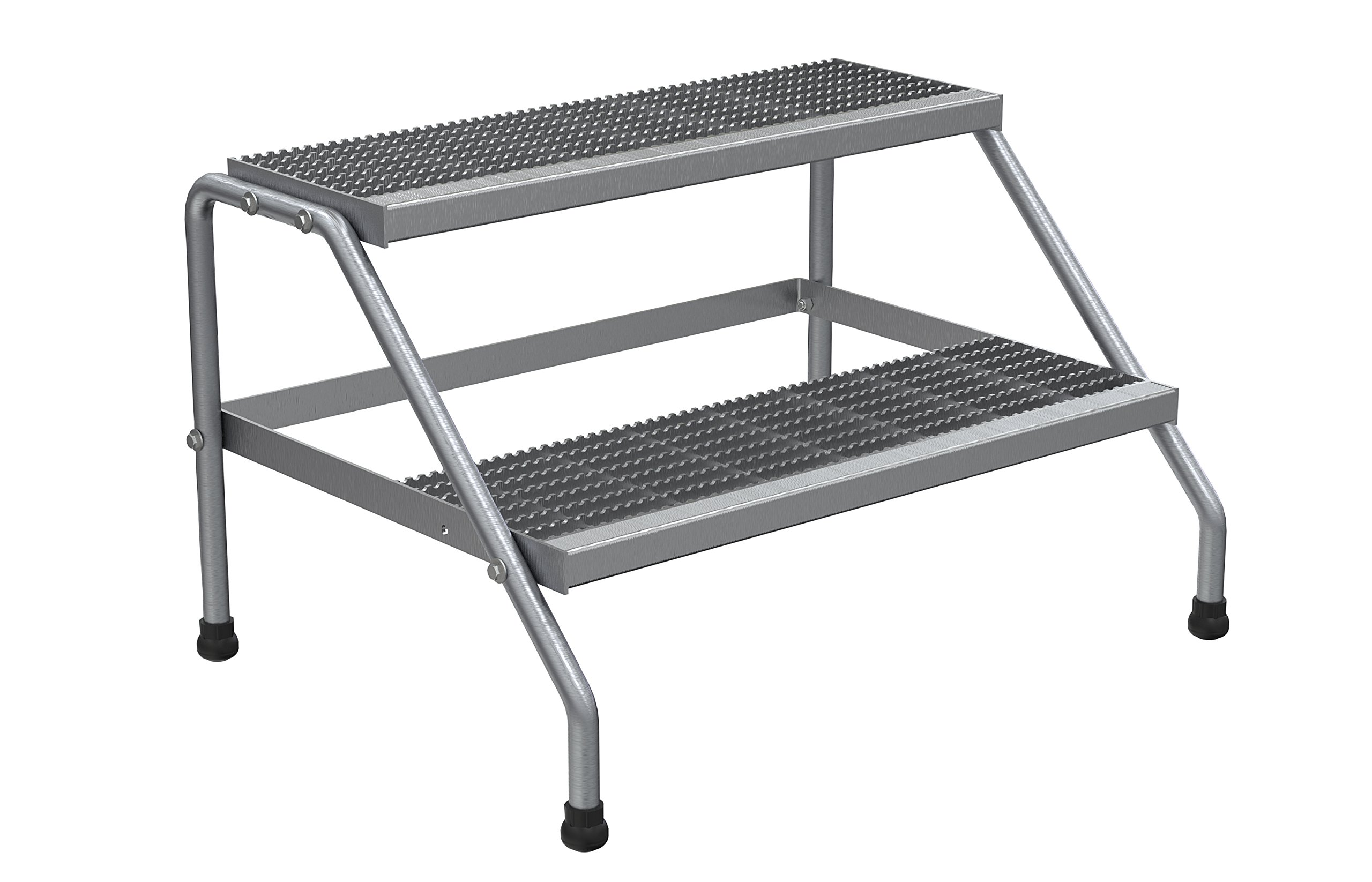 Vestil SSA-2W-KD Aluminum Wide 2-Step Stand - Knock Down, Silver