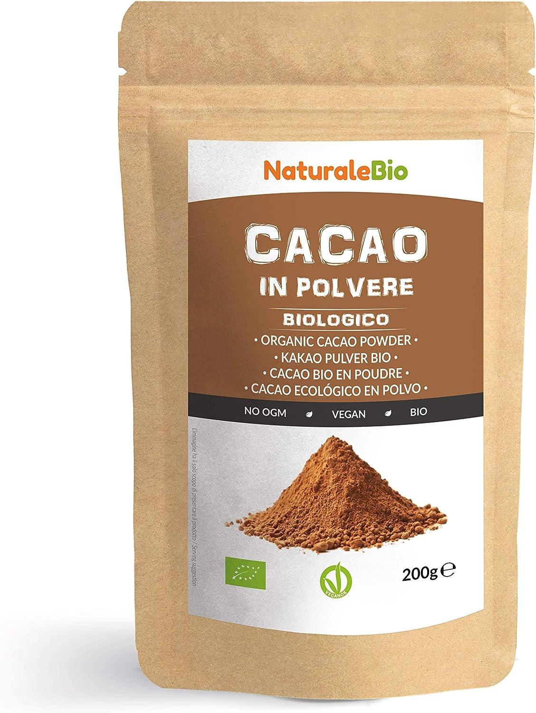 Cacao Ecológico en Polvo 200 g. Organic Cacao Powder. 100% Bio, Natural y Puro producido a partir de Granos de Cacao Crudo. Cultivado en Perú a partir de la planta Theobroma Cacao.: