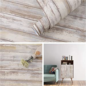 Distressed Wood Paper 17''×120'' Self-Adhesive Removable Wood Peel and Stick Wallpaper Vinyl Decorative Wood Plank Film Vintage Wall Covering for Furniture Surfaces Easy to Clean Wooden Grain Paper
