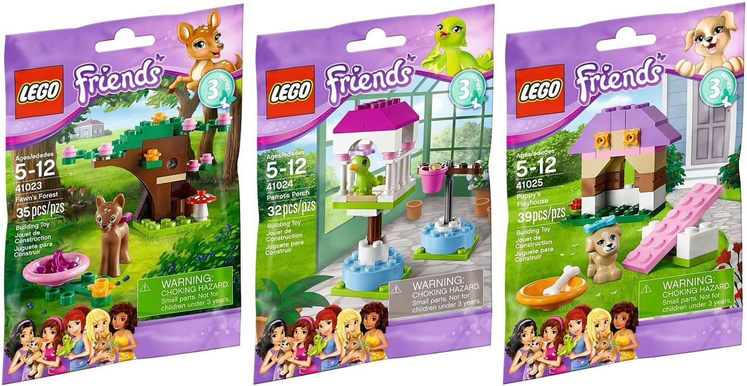 Lego Friends Animal Series 3 Complete Set with Parrot Puppy Fawn
