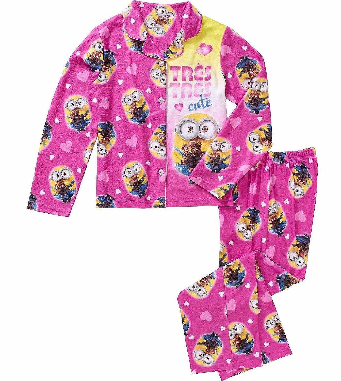 DESPICABLE ME Bob Minion TRES CUTE Girls Size 7//8 Coat Flannel Pajama Set
