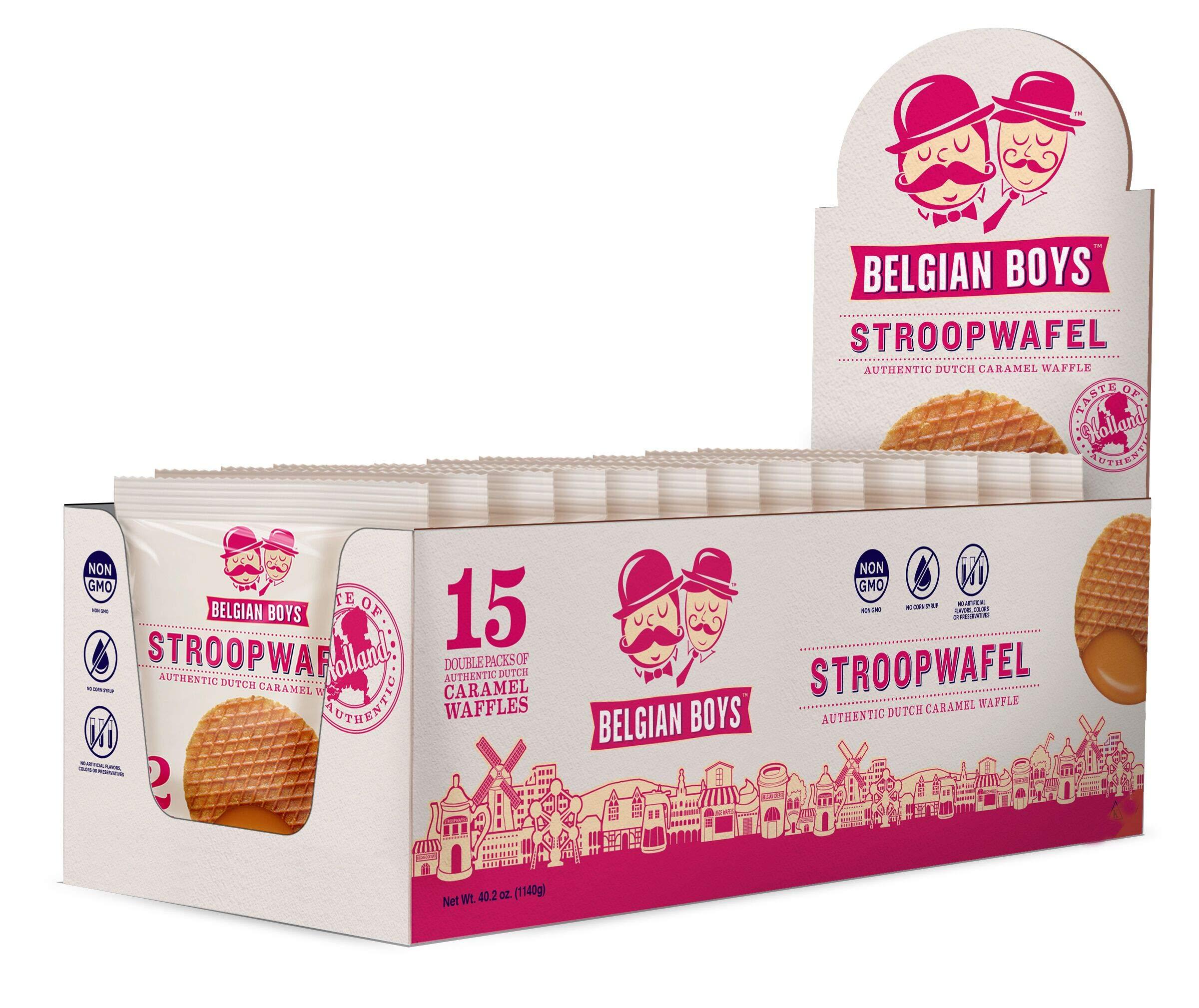 Belgian Boy Dutch Caramel Stroopwafel - 15pk (Each wrapped unit contains 2 Pieces- Total 30 Stroopwafels) - NonGMO, Kosher, No Corn Syrup by Belgian Boys