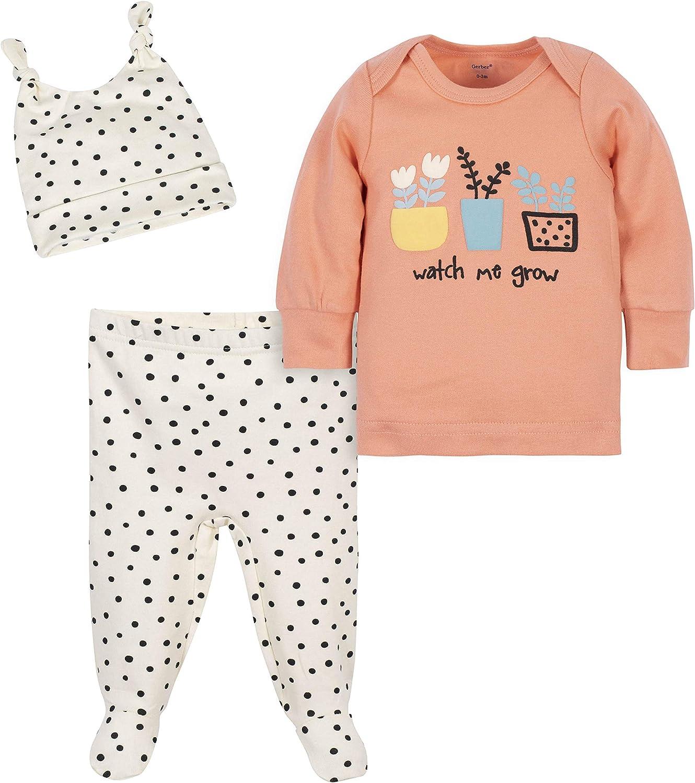 Grow by Gerber Baby Girls Organic 3-Piece Shirt, Footed Pant, and Cap Set