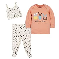 Baby Girls Organic 3-Piece Shirt, Footed Pant, and Cap Set