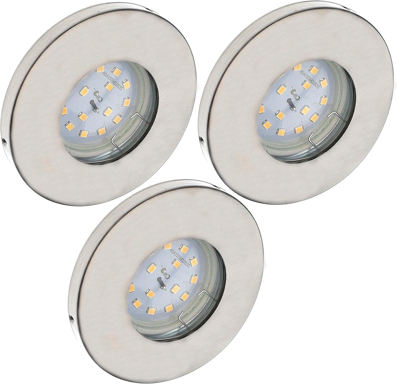 Trango Conjunto de 3 IP44 Foco empotrable LED empotrado I iluminaci/ón empotrada TG6729IP-036-6W focos de techo en blanco para ba/ño sauna con 3x iluminador LED 3000K acero inoxidable blanco c/álido.