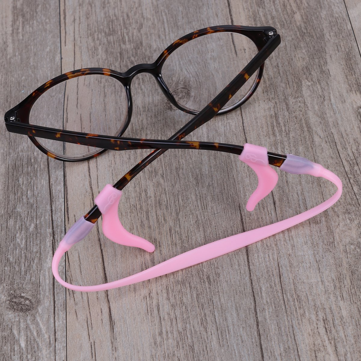 rosenice Silicone Adjustable Elastic Glasses and Hook for Firm Liner and Strap Set for Children in Pink 5/Kit
