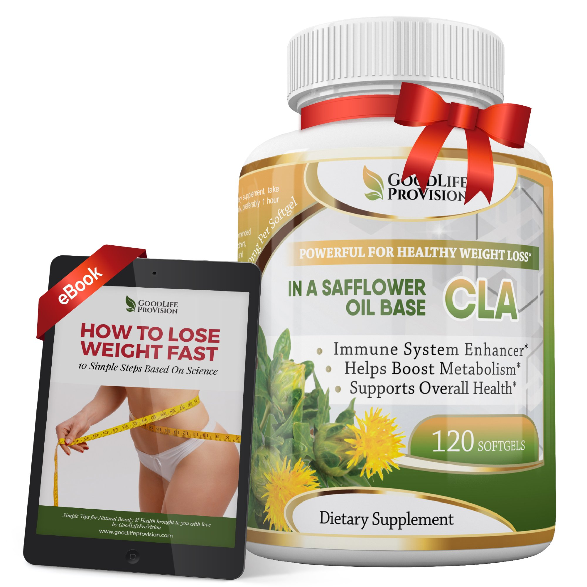 Best Pure CLA 1250 mg in a Safflower Oil Base Supplement, Conjugated Linoleic Acid - Helps Boost Metabolism and Strong Immunity - 120 Weight Loss Softgels