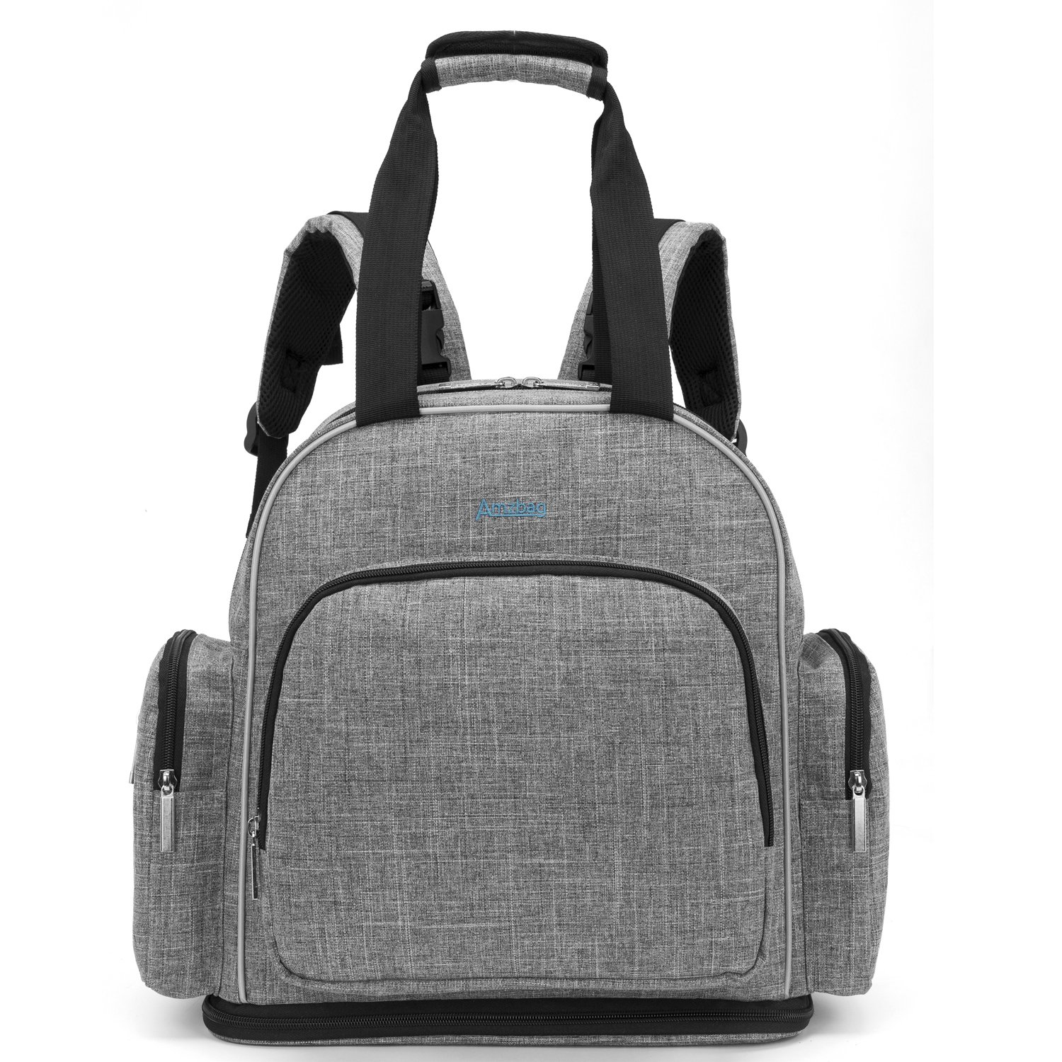 Amzbag Baby Diaper Bag Backpack Water-resistant Extensible Baby Tote Bag Unisex Diaper Handbag With Insulated Pockets Include Changing Pad/Insulated Sleeve For Mum/Dad (M-Size, Grey)
