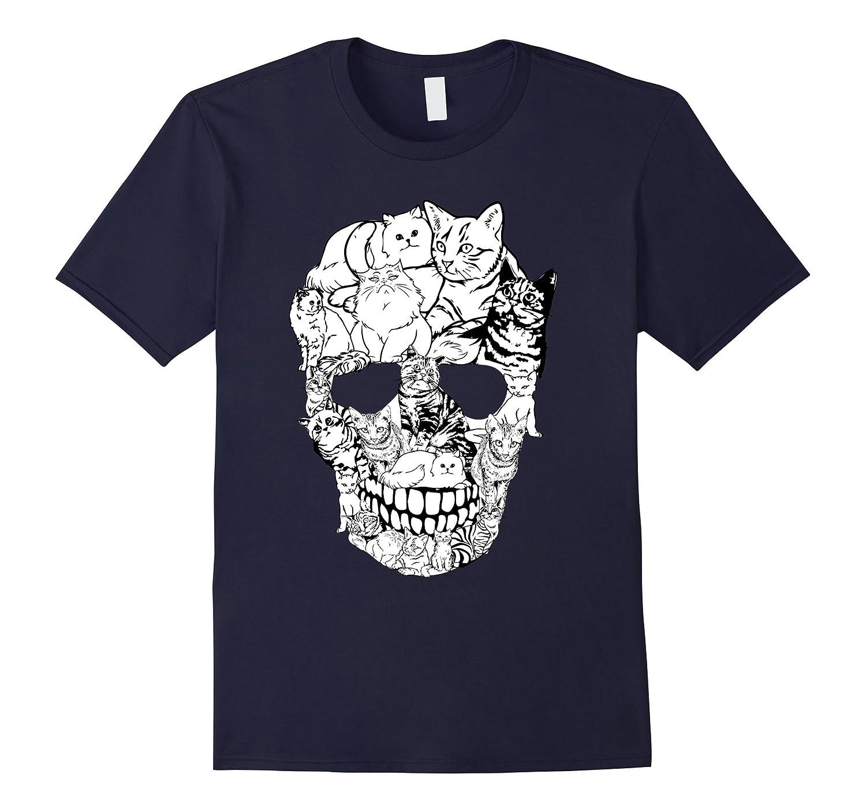 Cat Skull T Shirt   Kitty Skeleton Halloween Costume Idea-Teesml