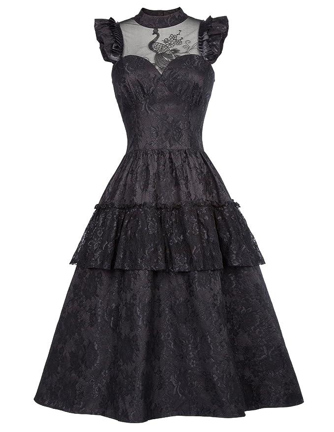 Belle Poque Steampunk Victorian Gothic Sleeveless Dress Cosplay Costume Black S