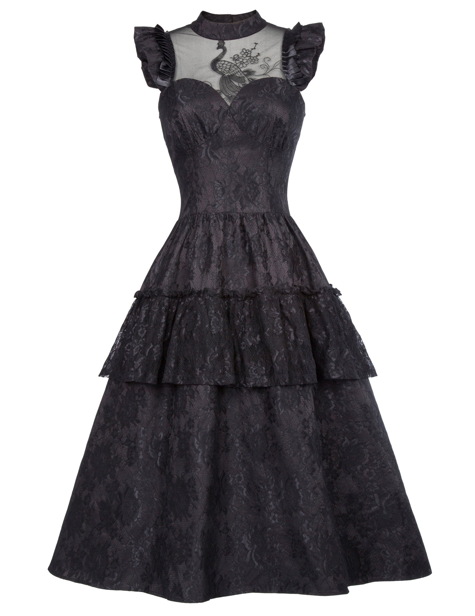 Belle Poque Women Black Victorian Gothic Steampunk Maxi Dress for Party BP380-1 XL