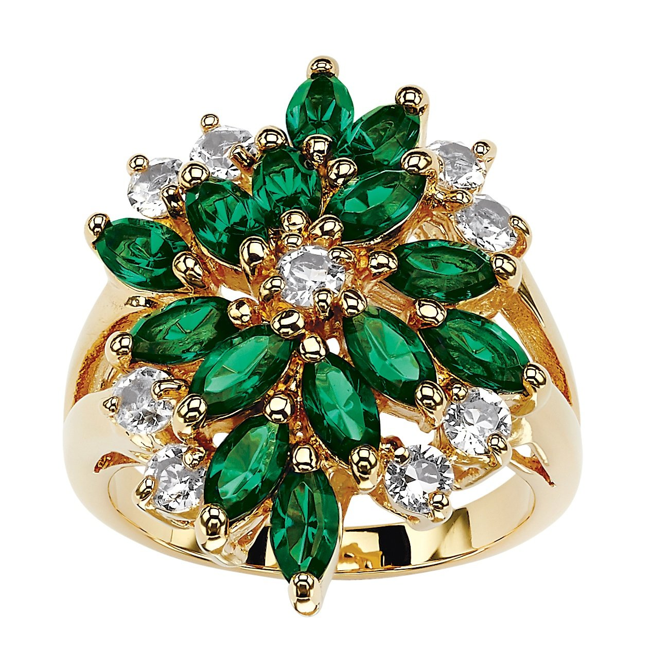 Palm Beach Jewelry 18K Gold-Plated Marquise Cut Green Floral Ring Made Swarovski Elements Size 9