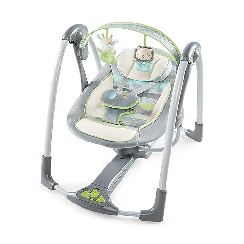 Ingenuity Power Adapt Portable Swing, Vesper/Grey - Best Portable Baby Swings With AC Adapter