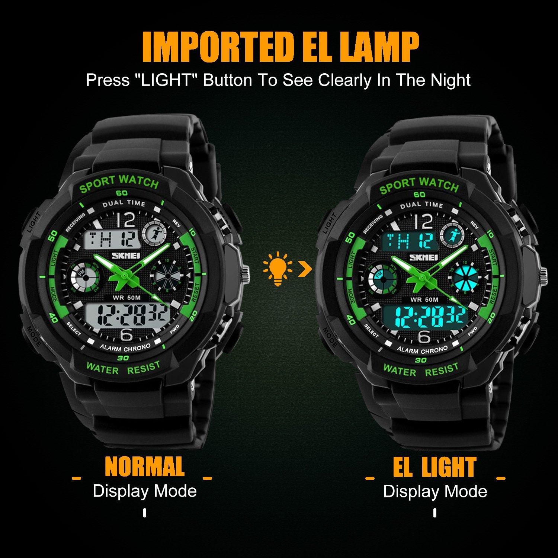 Digital reloj de pulsera para niños - 50 m impermeable deportes al aire libre analógico reloj con alarma/temporizador/Dual tiempo zona/luz LED electrónico para niños
