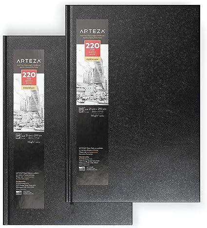 Arteza Blocs de dibujo de tapa dura | DIN A4 | Pack de 2 | 220 hojas x 2 | Papel de 110 gsm | Libros en blanco para escribir, para bocetos y diarios personales: Amazon.es: Oficina y papelería