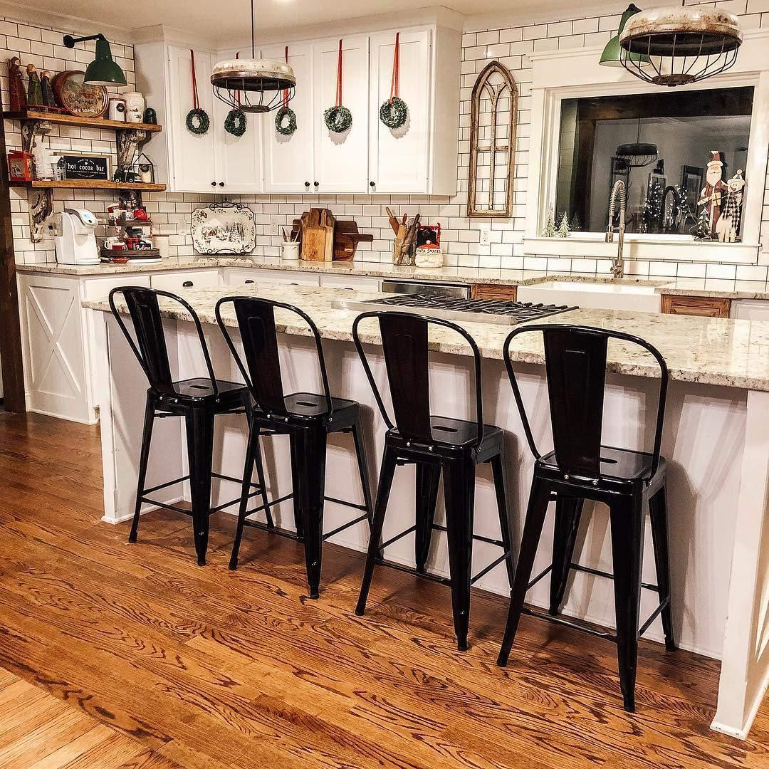 Belleze 24'' inch Indoor-Outdoor Counter Height Stool with Back, Set of (4) Black