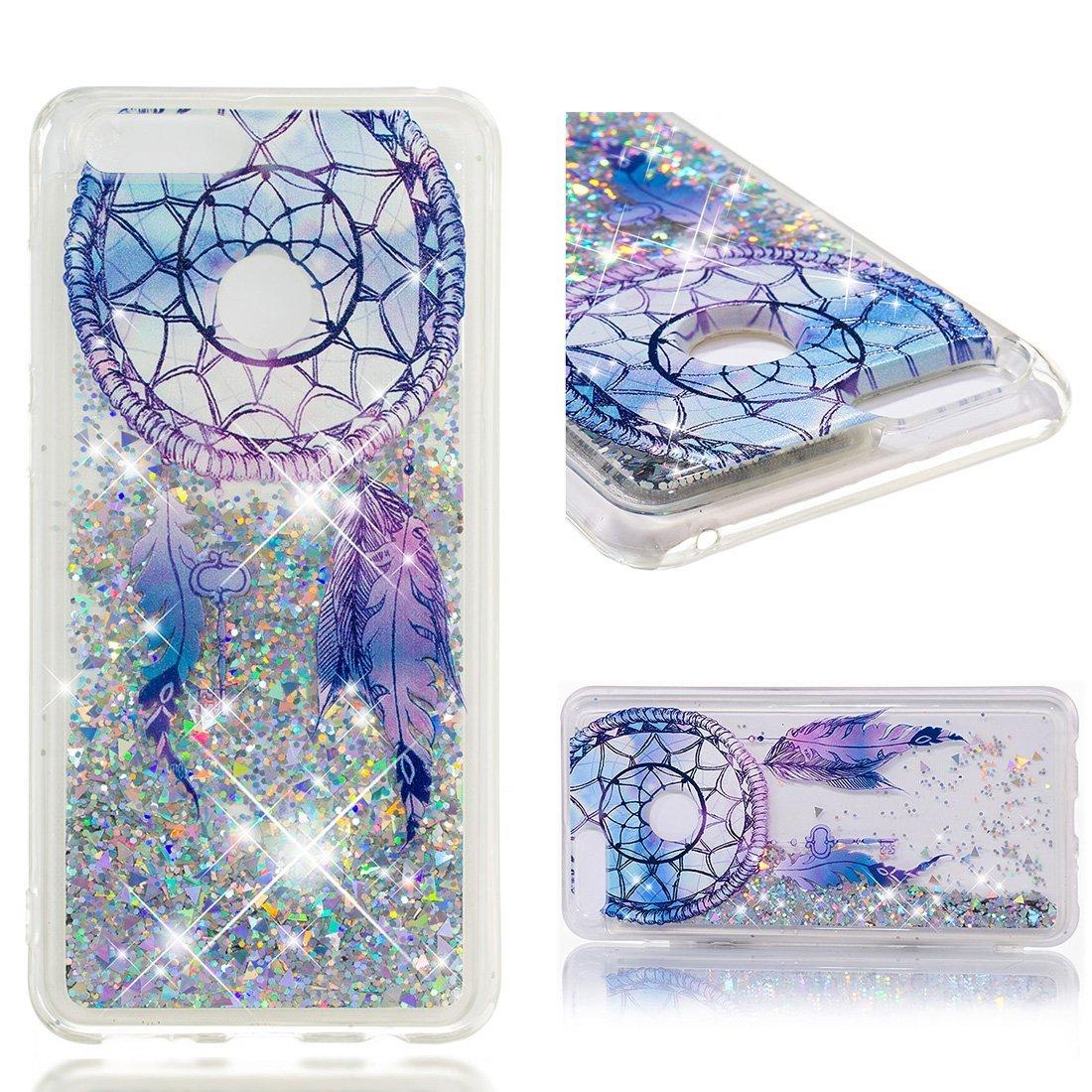 Cover Huawei Honor 7X, Lyzwn 3D Glitter Liquido Sabbie Mobili Trasparente Morbido TPU Silicone Custodia per Huawei Honor 7X Brillantini Sequin Posteriore Protettiva Case