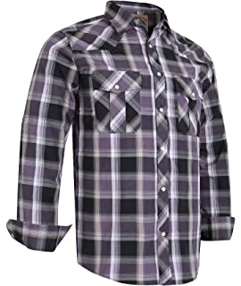 ab520518 Coevals Club Men's Long Sleeve Casual Western Plaid Press Buttons Shirt