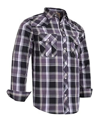 3c8d493b274 Coevals Club Men's Long Sleeve Casual Western Plaid Snap Buttons Shirt (S,  1#