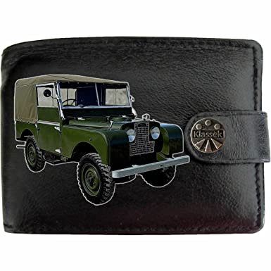 LandRover Series 1 image on KLASSEK Brand Men Wallet Purse Real Black Leather Car Moto accessory gift with Metal Box NOT OFFICIAL Land Rover Merchandise: ...