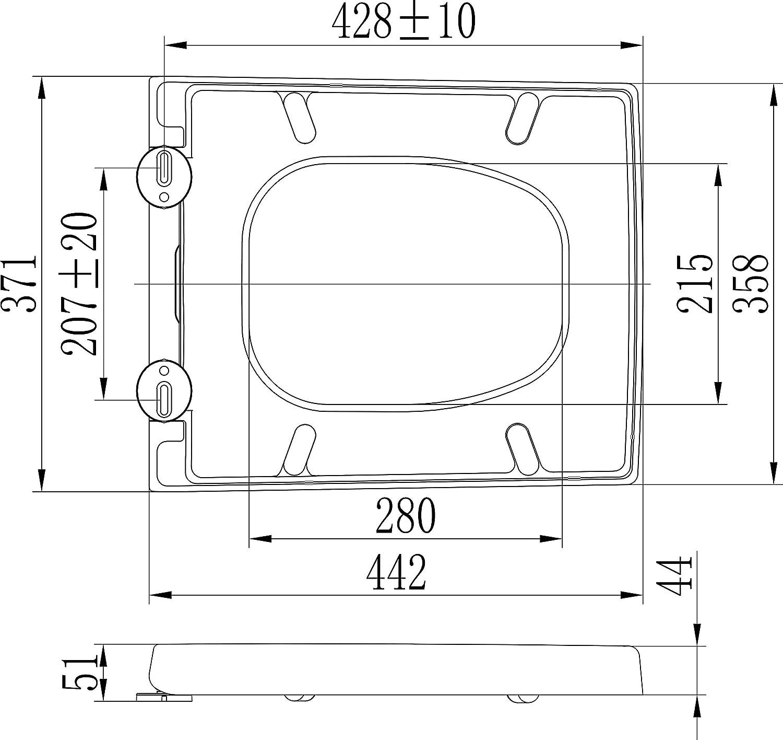 syst/ème dabaissement automatique et amovible en Duroplast Blanc Gr/ünblatt 515205 Abattant de WC pour Duravit Vero