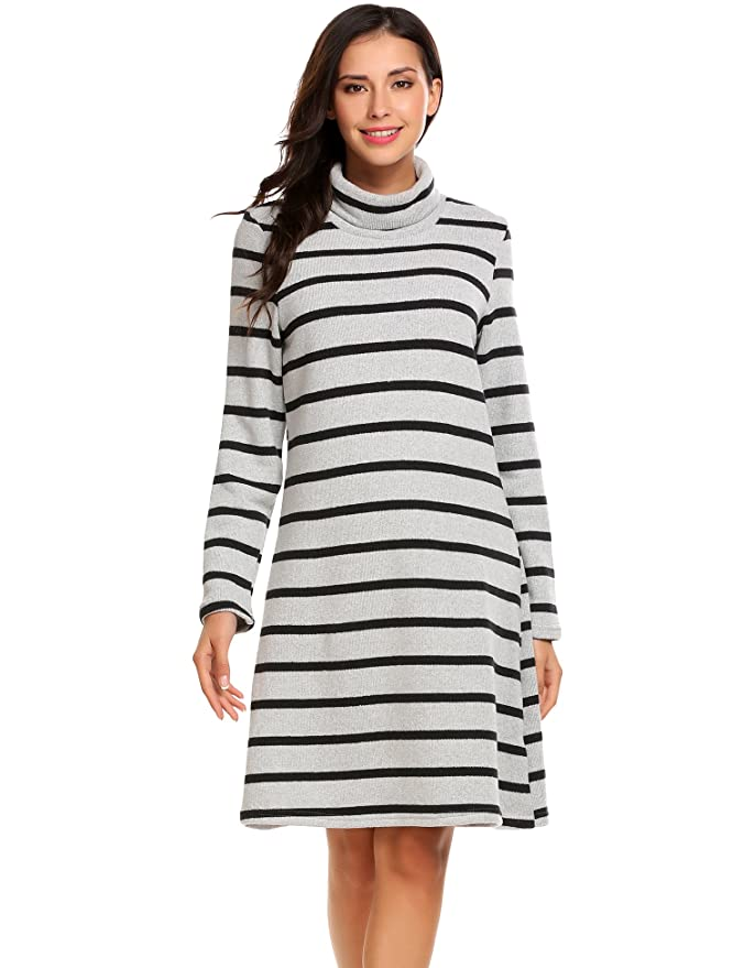 ELESOL Turtleneck Sweaters Dress Women Stripes Knit Long Sleeve Sweater Dresses