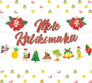 Mele Kalikimaka Banner Christmas Decorations for Hawaiian Merry Christmas Garland Glittering Red Hibiscus Flowers for Xmas New Year Holiday Party Supplies Pre-Strung 2 Pack
