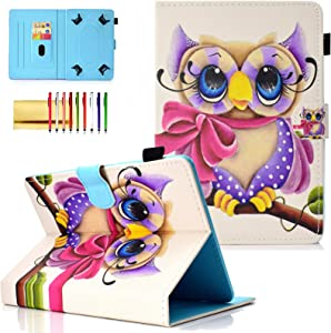 """Universal 10 inch Tablet Cover, Techcircle PU Leather Slim Folio Magnet [Card Slots] Stand Case for 9.5""""-10.5"""" Tablet, for iPad Air 3 10.5, Galaxy Tab A 10.1, Fire HD 10 5th&7th Gen, Purple Owl"""
