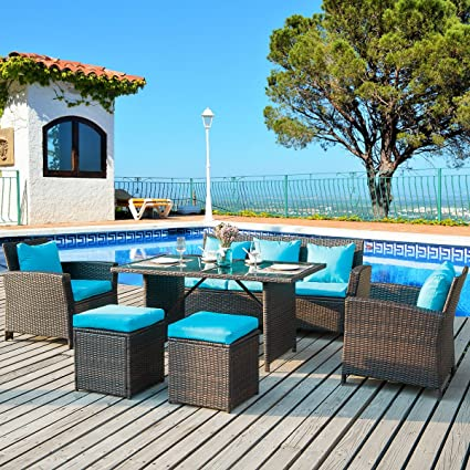 Merax 6 Piece Patio Furniture Dining Set Outdoor Living Wicker Sofa Set  (Blue Cushion