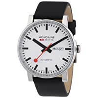 Mondaine Men's Automatic Watch with White Dial Analogue Display and Black Leather Strap
