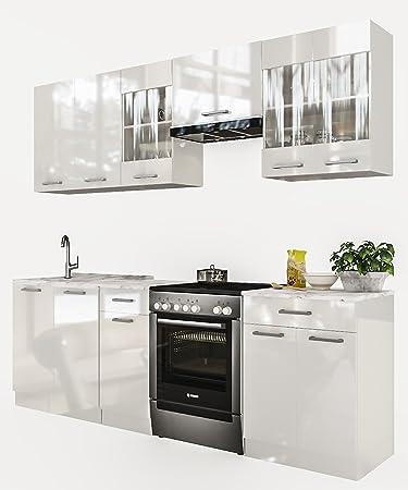 Neu küche martha weißlackiert 240 cm küchenzeile küchenblock einbauküche kueche