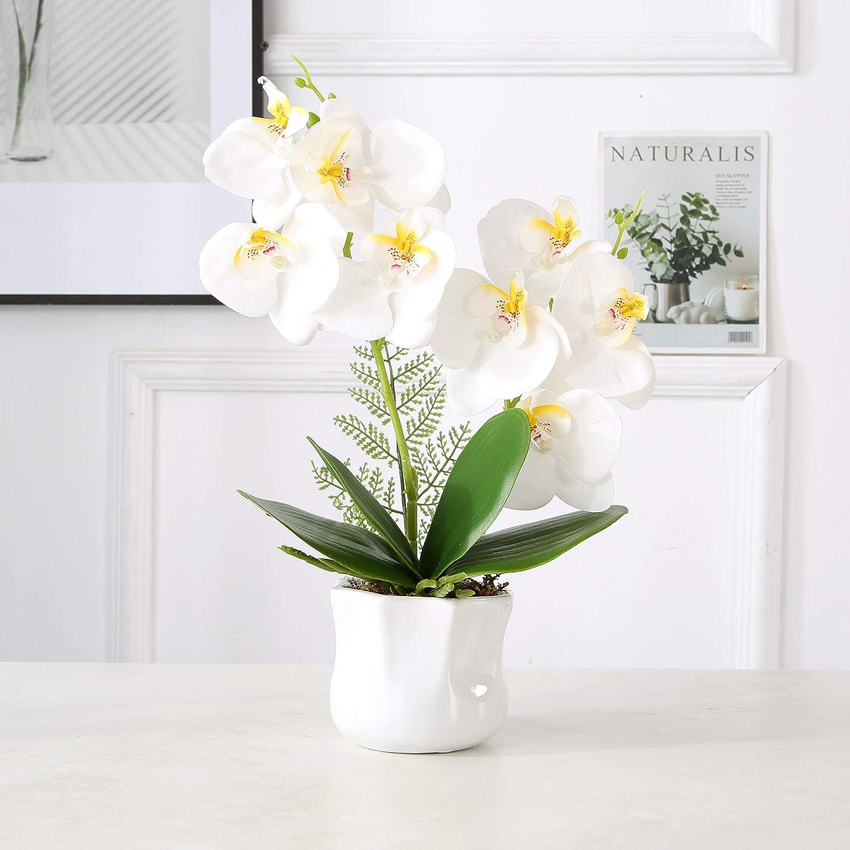 ENCOFT Flores Artificiales Plástico Flor de Phalaenopsis Realista Orquídea Mariposa con Maceta Imitación Cerámica Decoración (Blanco, 43cm)