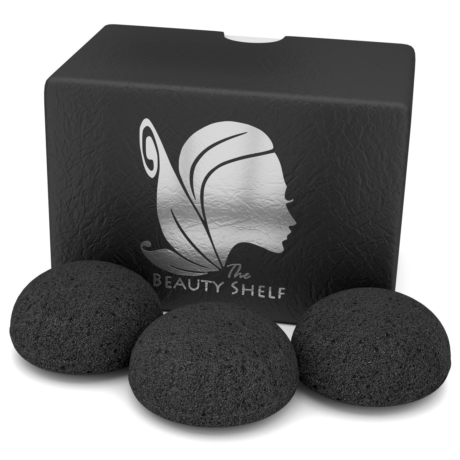 Konjac Sponge (3 Pack) Activated Bamboo Charcoal. Facial Cleansing & Exfoliating Beauty Sponges