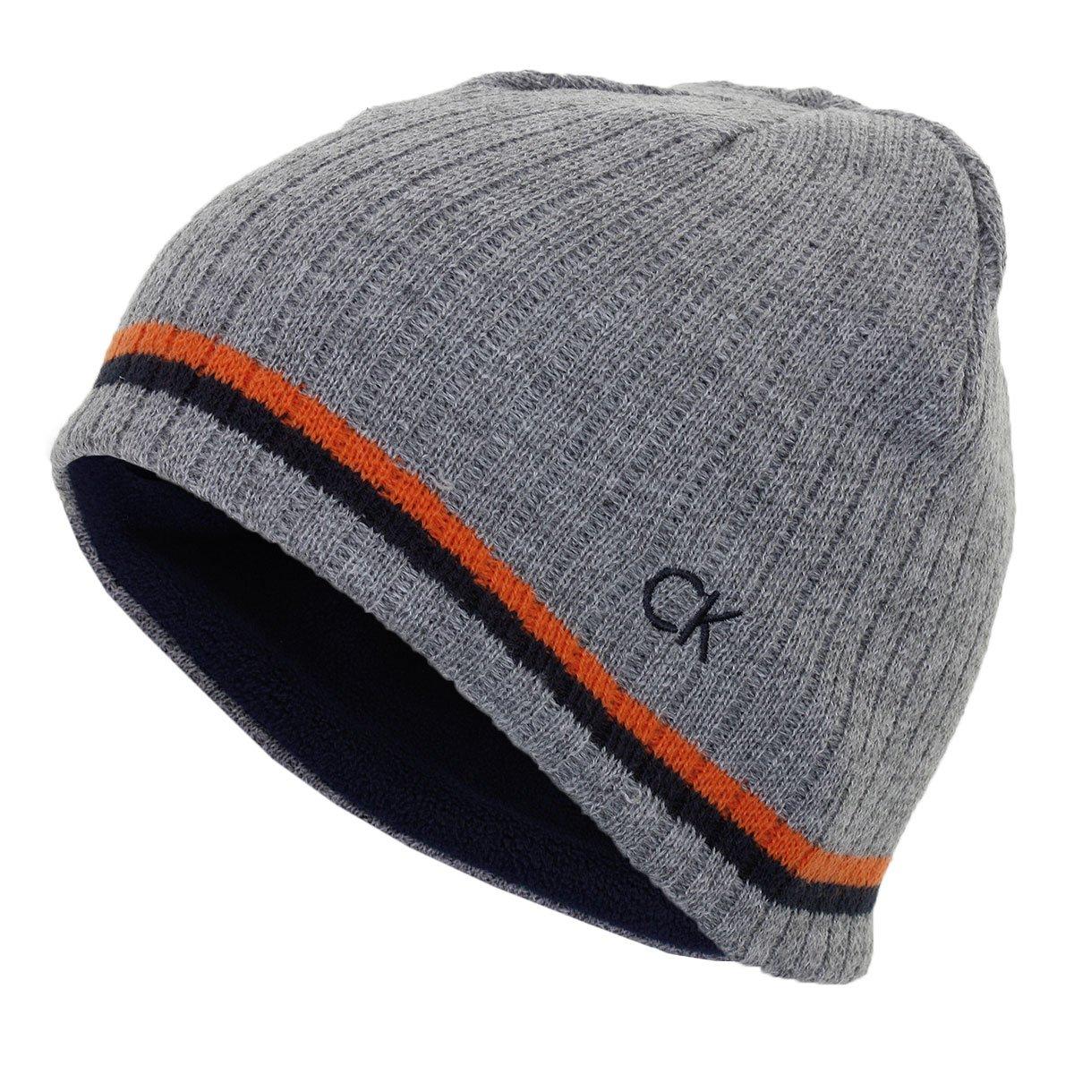 5867ec23af4 Calvin Klein Golf Mens Reversible Knit Beanie - Grey Marl - One Size   Amazon.co.uk  Clothing