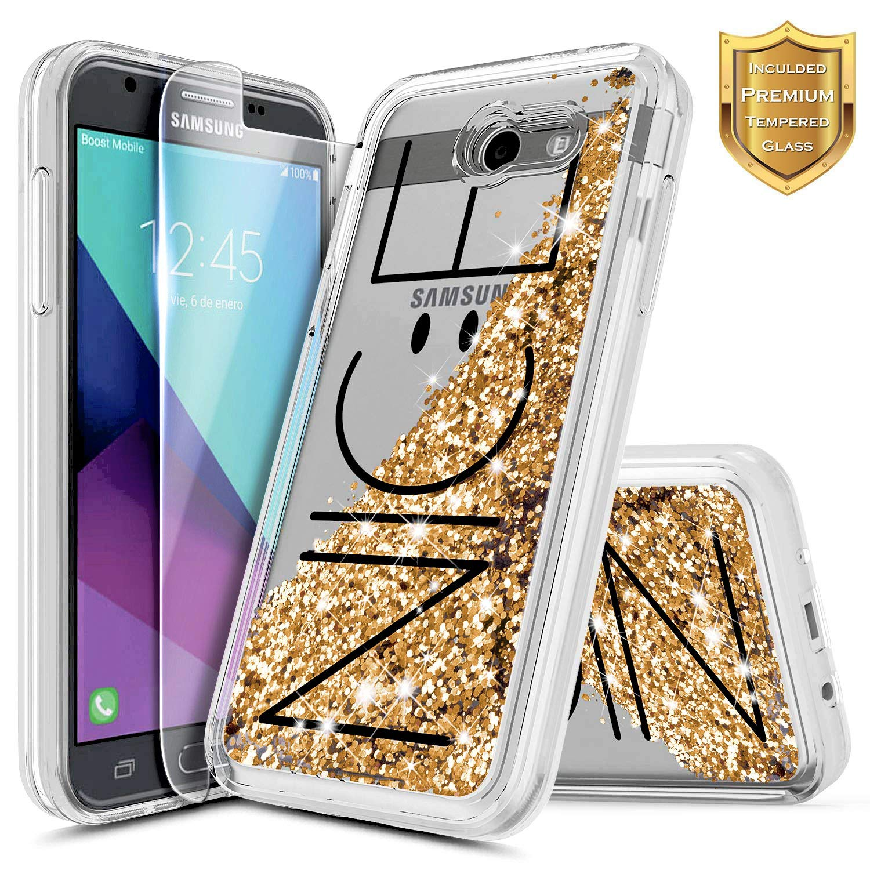800fceb000 Galaxy J7 Prime Case, J7 Sky Pro Case, J7 V / J7 Perx/Halo w/[Tempered  Glass Screen Protector], NageBee Glitter Liquid Quicksand Waterfall Flowing  ...