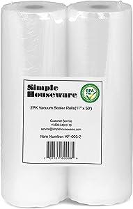 "2 Pack - SimpleHouseware 11"" x 50 Feet Vacuum Sealer Bags (total 100 feet)"