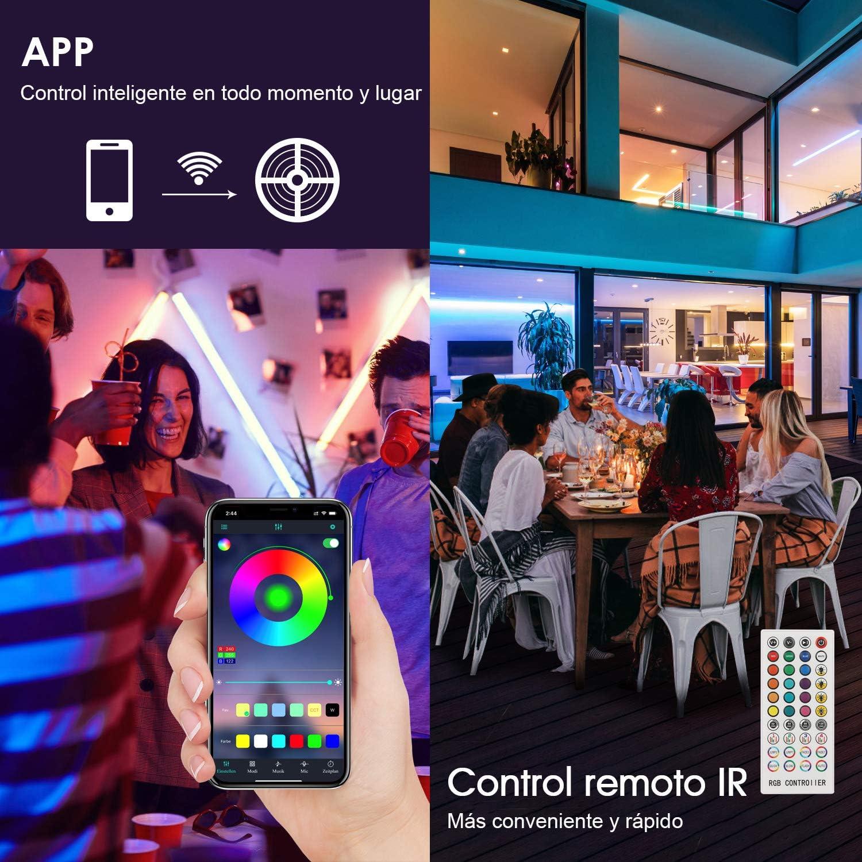 Control Remoto IR de 40 Teclas Tiras LED de 12M con Controlador Bluetooth Apta para Televisor Dormitorio Hogar y Fiestas Luz LED RGB 5050 Controlada por Tel/éfono M/óvil Sincronizaci/ón Musical