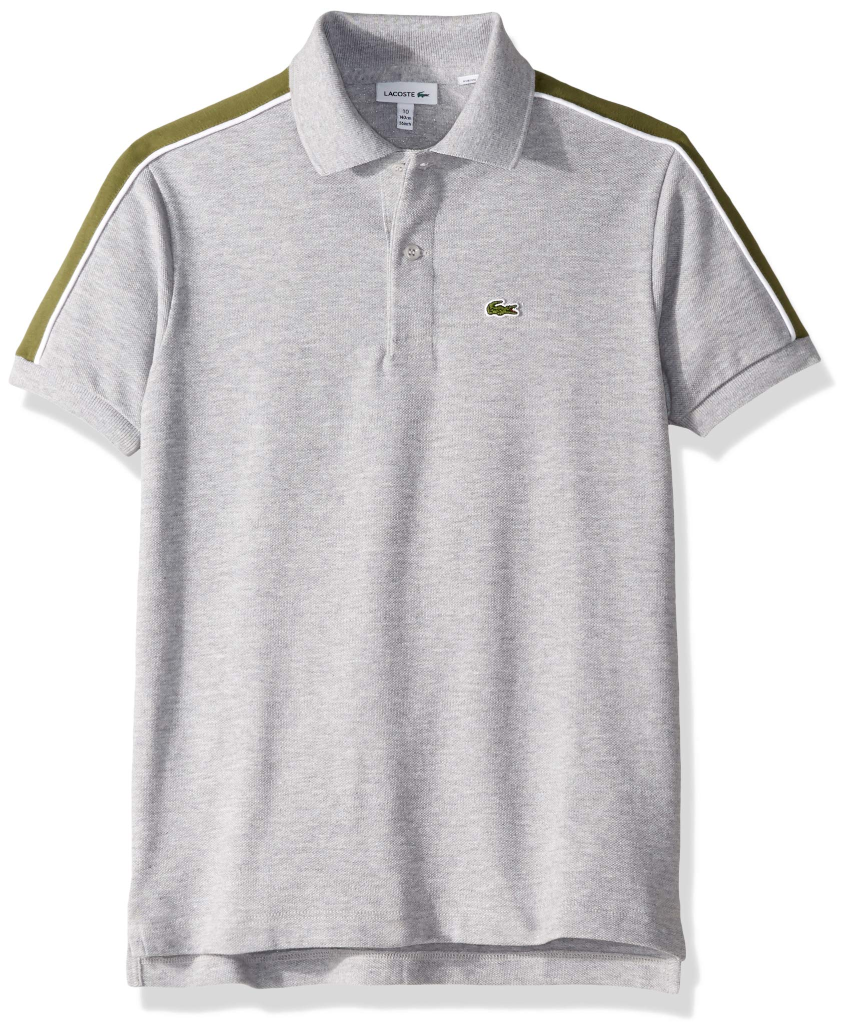 Lacoste Big BOY Athleisure Shoulder Striped Pique Polo, Silver Chine/Marsh, 8YR