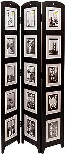 "kieragrace Providence Photo 3-Panel Room Divider, 33"" x 64.5"", Holds 15-5"" x 7"", Wood"