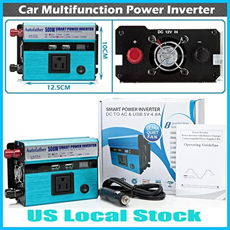Pantalla Digital Power Inverter 500 W 12 V DC a 110 V AC outlet y puertos