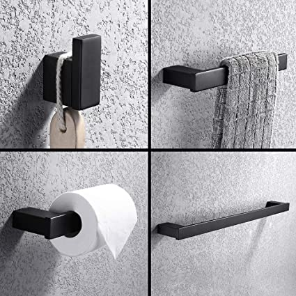 Turs 4 Piezas Juego de accesorios de baño SUS 304 acero inoxidable Sostenedor del papel higiénico Barra de toallas Gancho de bata Anillo de toalla ...