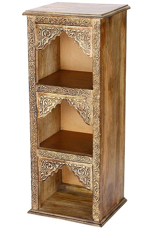 Regal aus Holz massiv schmal in Braun Asmara 87cm hoch für Bad oder Küche |  Braunes Standregal ohne bohren für Badezimmer | schmales Raumteiler ...
